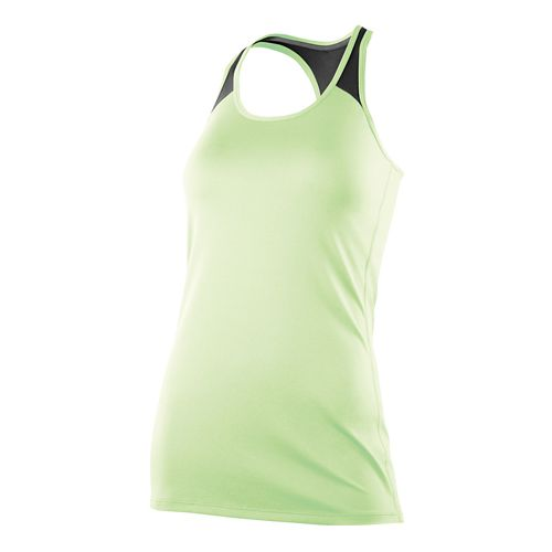 Womens 2XU Essential Racer Tank Technical Tops - Honeydew/Charcoal L