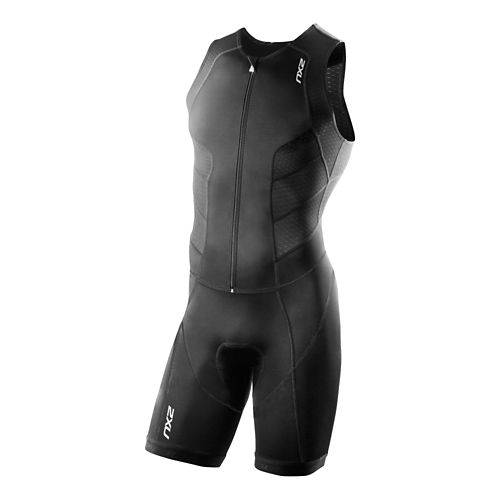 Mens 2XU Full Zip Trisuit Triathlete UniSuits - Black/Black S