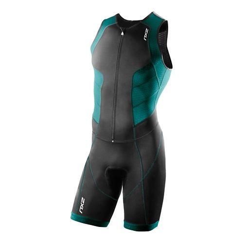 Mens 2XU Full Zip Trisuit Triathlete UniSuits - Black/Lagoon S