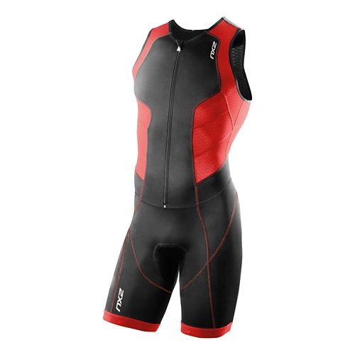 Mens 2XU Full Zip Trisuit Triathlete UniSuits - Black/Scarlet S