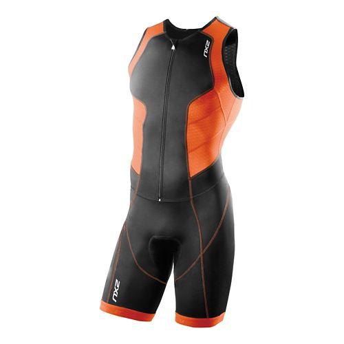 Mens 2XU Full Zip Trisuit Triathlete UniSuits - Black/Lotus Orange L