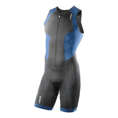 Mens 2XU Full Zip Trisuit Triathlete UniSuits - Charcoal/Pacific Blue XL