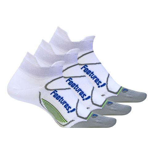 Feetures Elite Ultra Light No Show Tab 3 pack Socks - White L