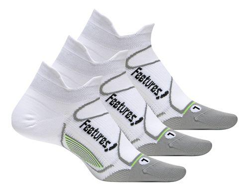 Feetures Elite Ultra Light No Show Tab 3 pack Socks - White/Black L