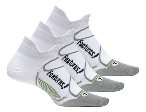 Feetures Elite Ultra Light No Show Tab 3 pack Socks - White/Black M