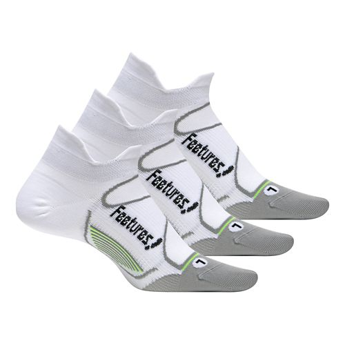 Feetures Elite Ultra Light No Show Tab 3 pack Socks - White/Black L