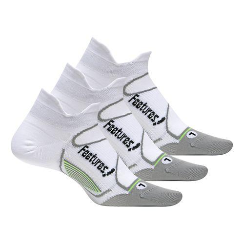 Feetures Elite Ultra Light No Show Tab 3 pack Socks - White/Black S