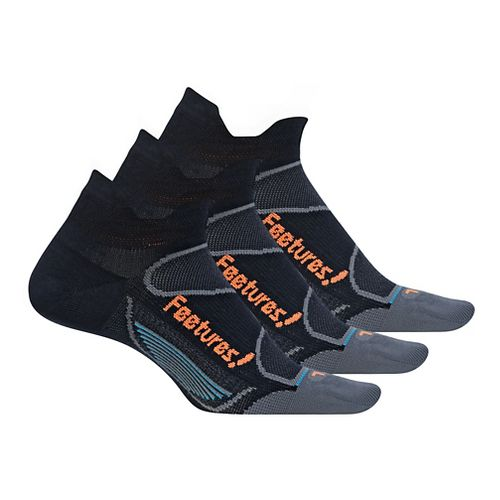 Feetures Elite Ultra Light No Show Tab 3 pack Socks - Black/Electric Orange XL