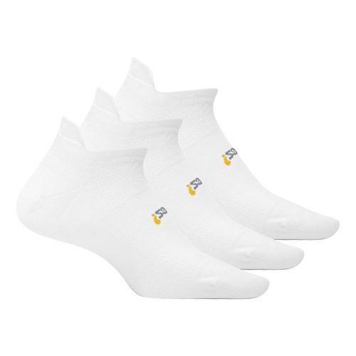 Feetures High Performance 2.0 Ultra Light No Show Tab 3 pack Socks - White M