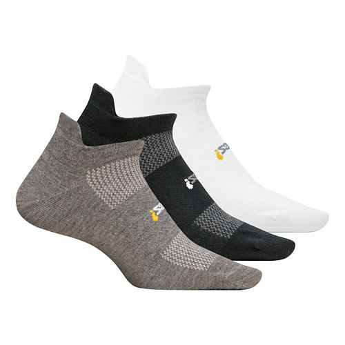 Feetures High Performance Ultra Light No Show Tab 3 pack Socks - Heather Grey L ...