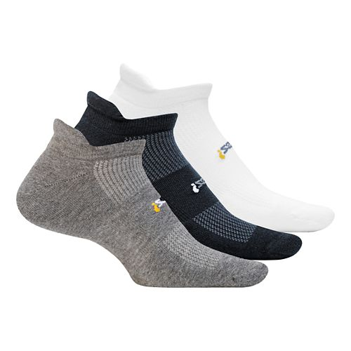 Feetures High Performance Cushion No Show Tab 3 pack Socks - Heather Grey M
