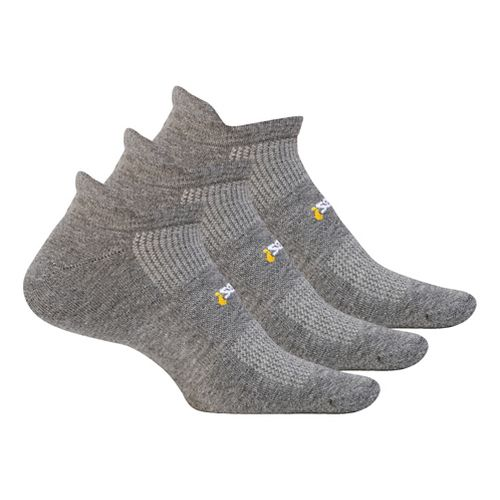 Feetures High Performance Cushion No Show Tab 3 pack Socks - Grey M