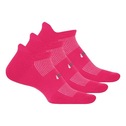 Feetures High Performance 2.0 Light Cushion No Show Tab 3 pack Socks - Deep Pink ...
