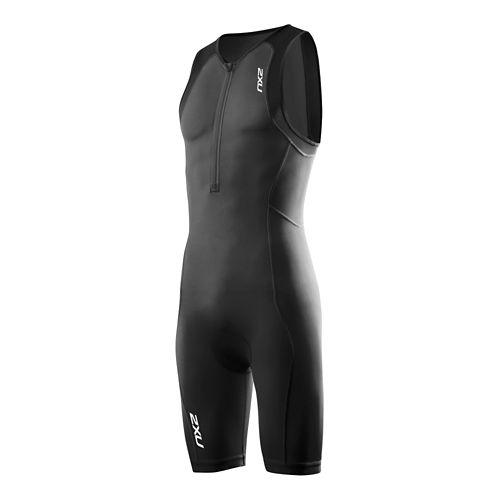 Mens 2XU G:2 Active Trisuit Triathlete UniSuits - Black/Black L