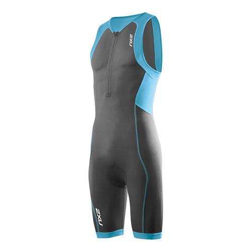 Mens 2XU G:2 Active Trisuit Triathlete UniSuits - Charcoal/Amalfi XXL