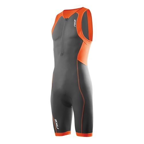 Mens 2XU G:2 Active Trisuit Triathlete UniSuits - Charcoal/Lotus Orange L