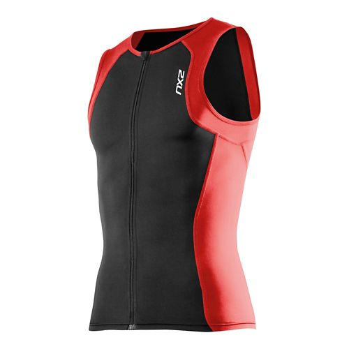 Mens 2XU G:2 Active Tri Singlet Sleeveless Technical Tops - Black/Scarlet M