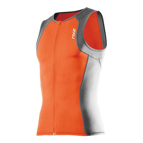 Mens 2XU G:2 Active Tri Singlet Sleeveless Technical Tops - Lotus Orange/Charcoal S