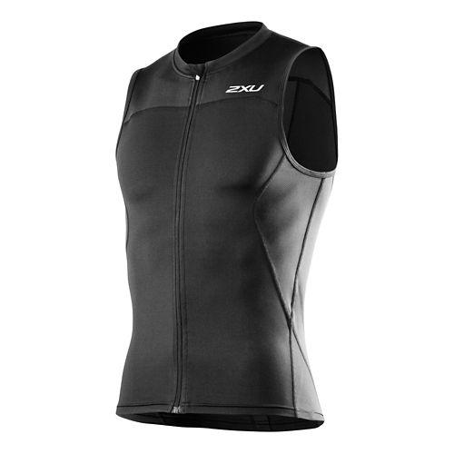 Mens 2XU G:2 Multi-Sport Singlet Sleeveless Technical Tops - Black/Black XL