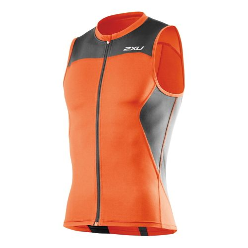 Mens 2XU G:2 Multi-Sport Singlet Sleeveless Technical Tops - Lotus Orange/Charcoal M