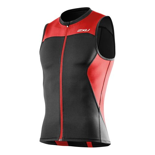 Mens 2XU G:2 Multi-Sport Singlet Sleeveless Technical Tops - Black/Scarlet S