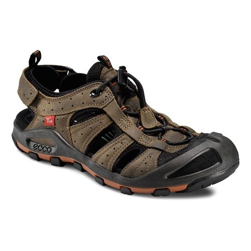 Mens Ecco Cerro Sandals Shoe - Black/Navajo Brown 45