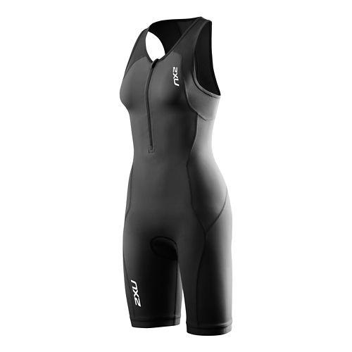 Womens 2XU G:2 Active Trisuit Triathlete UniSuits - Black/Black XL