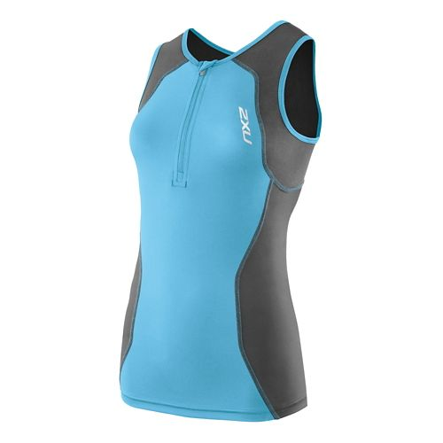 Womens 2XU G:2 Active Tri Singlet Sleeveless Technical Tops - Charcoal/Amalfi XL