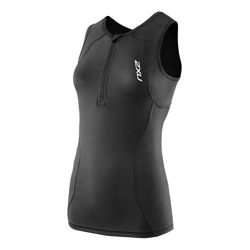 Womens 2XU G:2 Active Tri Singlet Sleeveless Technical Tops - Black/Black L