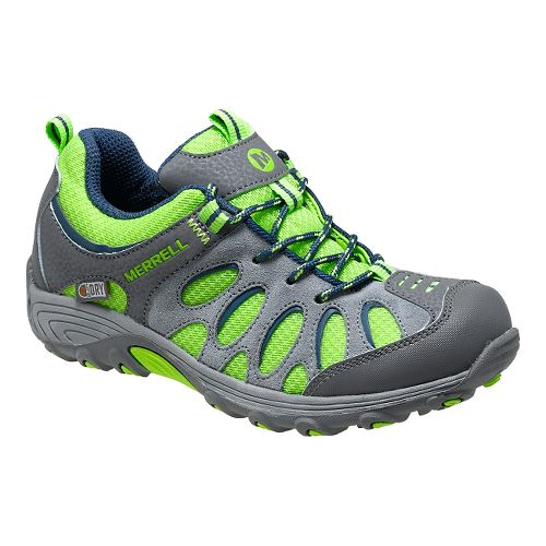 Kids Merrell Chameleon Low Lace Waterproof Hiking Shoe - Grey/Green 10.5