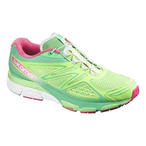Womens Salomon X-Scream 3D Trail Running Shoe - Green/Hot Pink 7