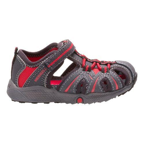 Kids Merrell Hydro Hiker Sandal Shoe - Grey/Red 5C