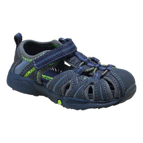 Kids Merrell Hydro Hiker Sandal Shoe - Navy/Green 5.5C