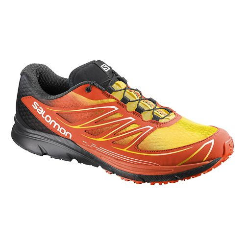Mens Salomon Sense Mantra 3 Trail Running Shoe - Red/Yellow 12