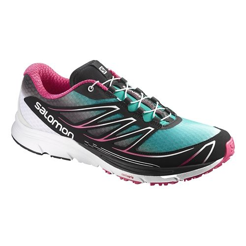 Womens Salomon Sense Mantra 3 Trail Running Shoe - Blue/Pink 7.5