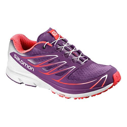 Womens Salomon Sense Mantra 3 Trail Running Shoe - Purple/White/Coral 9.5