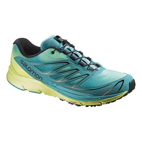 Womens Salomon Sense Mantra 3 Trail Running Shoe - Blue/Pink 10.5