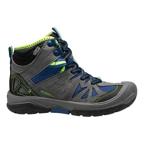 Kids Merrell Capra Mid Waterproof Hiking Shoe - Grey/Blue 3Y