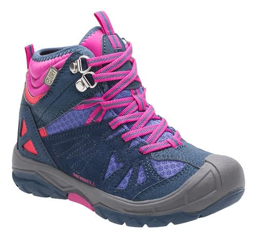 Kids Merrell Capra Mid Waterproof Hiking Shoe - Navy 12C