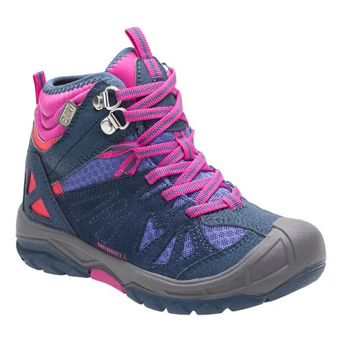 Kids Merrell Capra Mid Waterproof Hiking Shoe - Navy 1Y