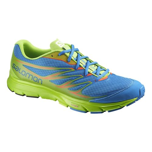 Mens Salomon Sense Link Trail Running Shoe - Blue/Green 10