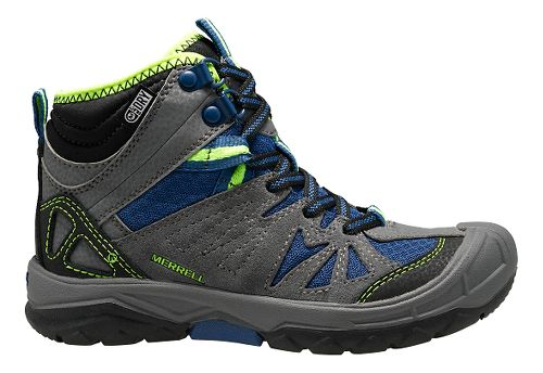 Kids Merrell Capra Mid Waterproof Hiking Shoe - Grey/Blue 7Y