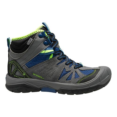 Kids Merrell Capra Mid Waterproof Hiking Shoe - Grey/Blue 3.5Y