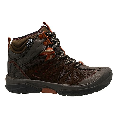 Kids Merrell Capra Mid Waterproof Hiking Shoe - Brown 3.5Y