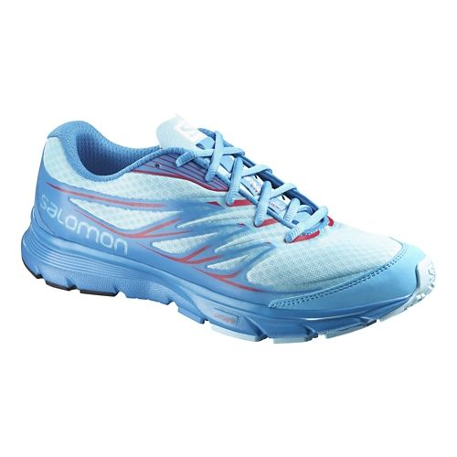 Womens Salomon Sense Link Trail Running Shoe - Blue/Pink 7.5