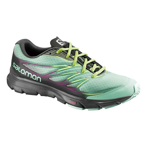 Womens Salomon Sense Link Trail Running Shoe - Green/Black 10.5