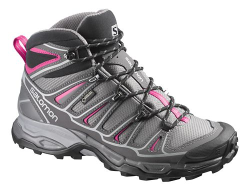 Womens Salomon X-Ultra Mid 2 GTX Hiking Shoe - Grey/Pink 8