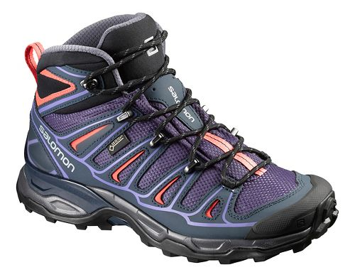 Womens Salomon X-Ultra Mid 2 GTX Hiking Shoe - Grey/Blue/Coral 6
