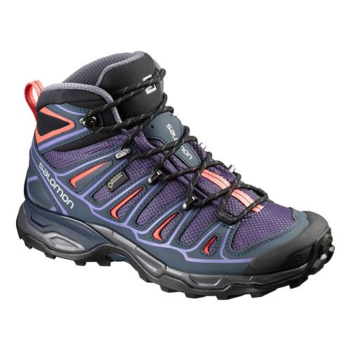 Womens Salomon X-Ultra Mid 2 GTX Hiking Shoe - Grey/Blue/Coral 7.5