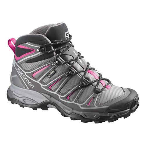 Womens Salomon X-Ultra Mid 2 GTX Hiking Shoe - Grey/Pink 10